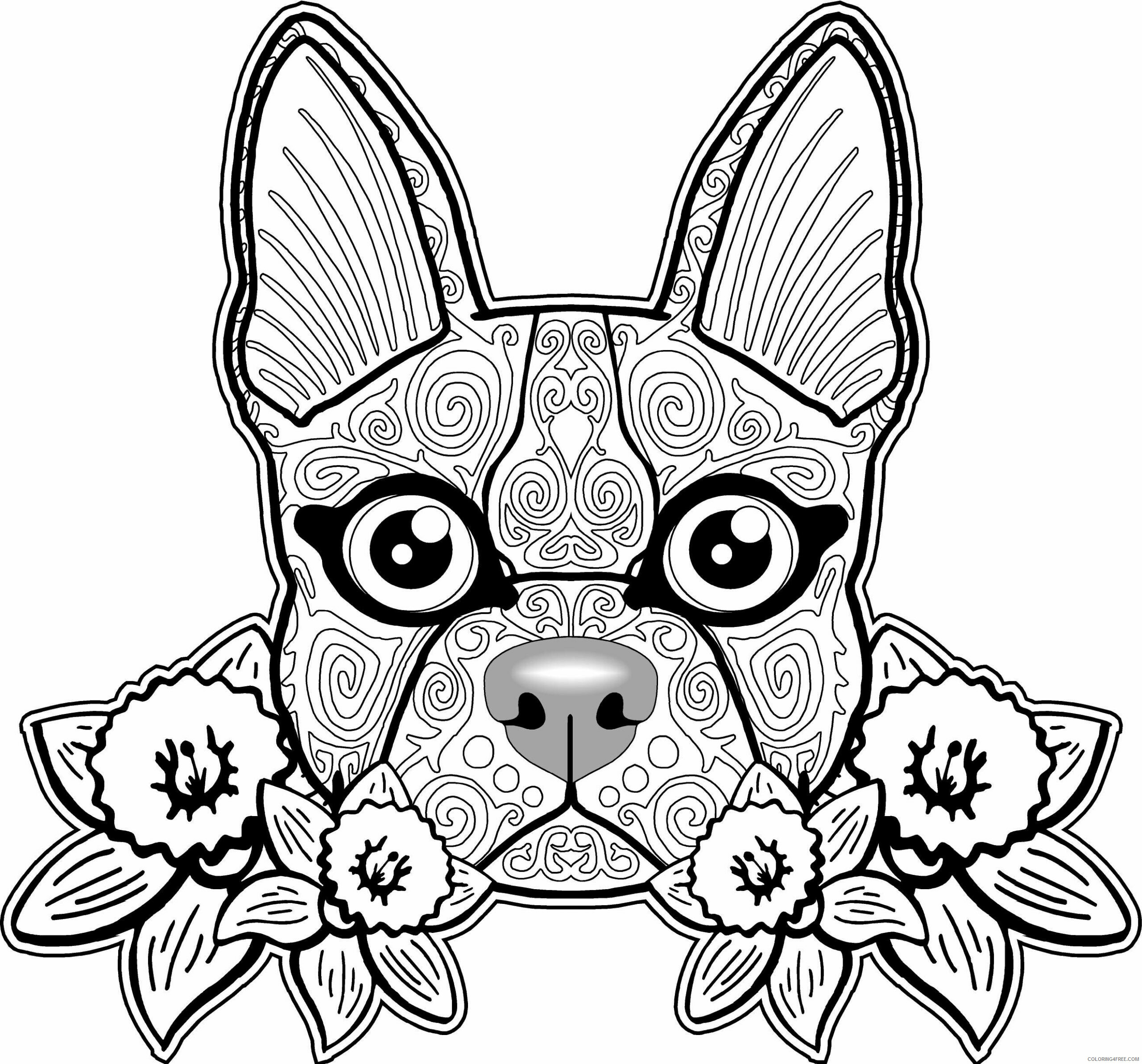 Adult Dog Coloring Pages Adult ZenDog Printable 2020 223 Coloring4free