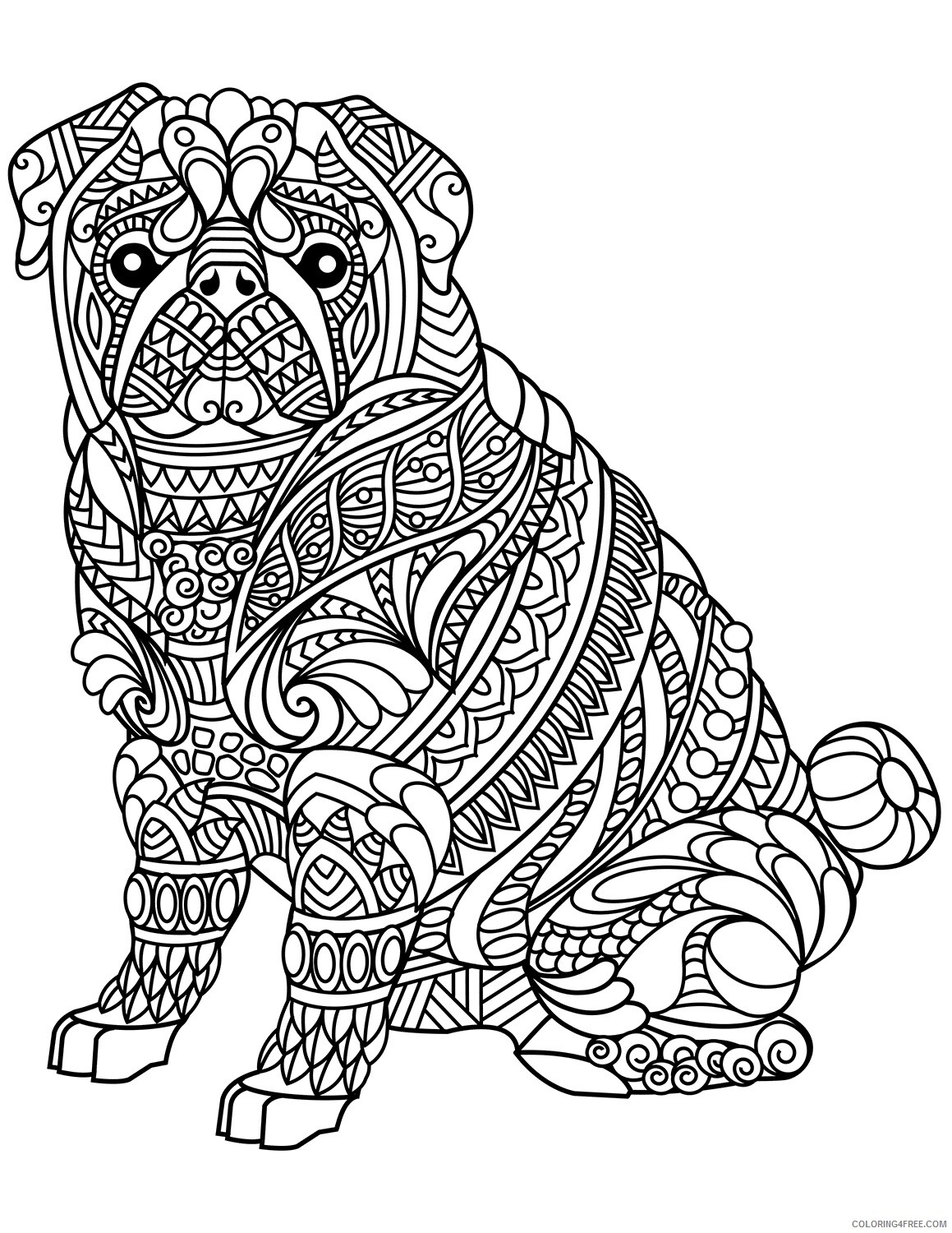 Adult Dog Coloring Pages Complex Zen Dog for Adults Printable 2020 225 Coloring4free