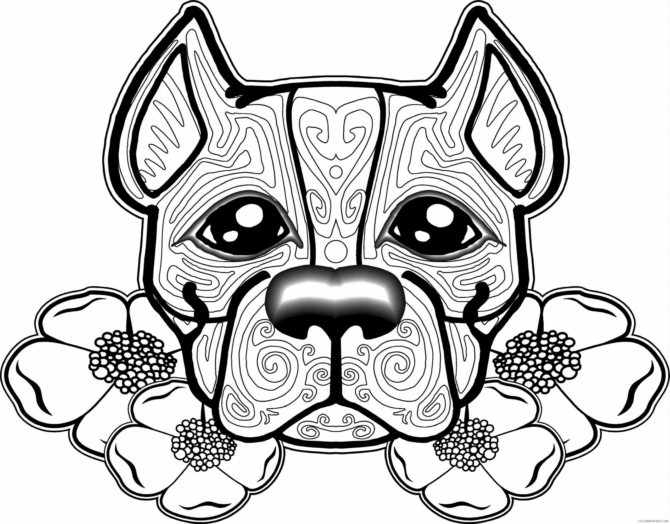 Adult Dog Coloring Pages Dog for Adults 2 Printable 2020 228 Coloring4free