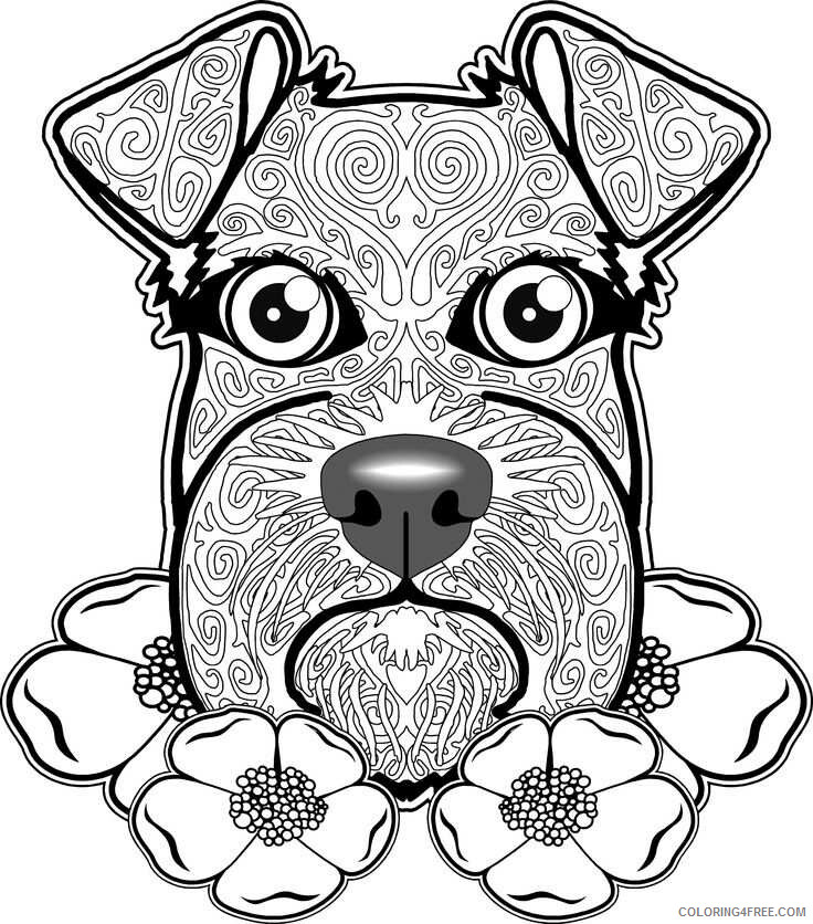 Adult Dog Coloring Pages Schnauzer Dog for Adults Printable 2020 240 Coloring4free