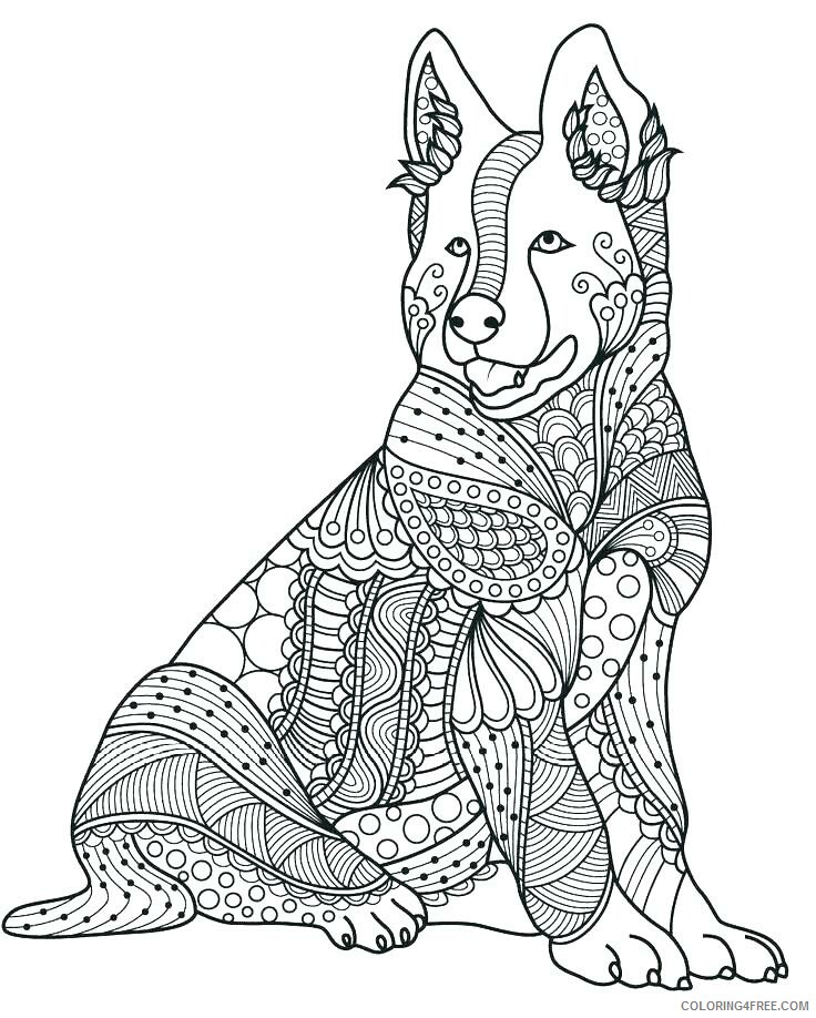 Adult Dog Coloring Pages ZenDog for Adults 2 Printable 2020 241 Coloring4free
