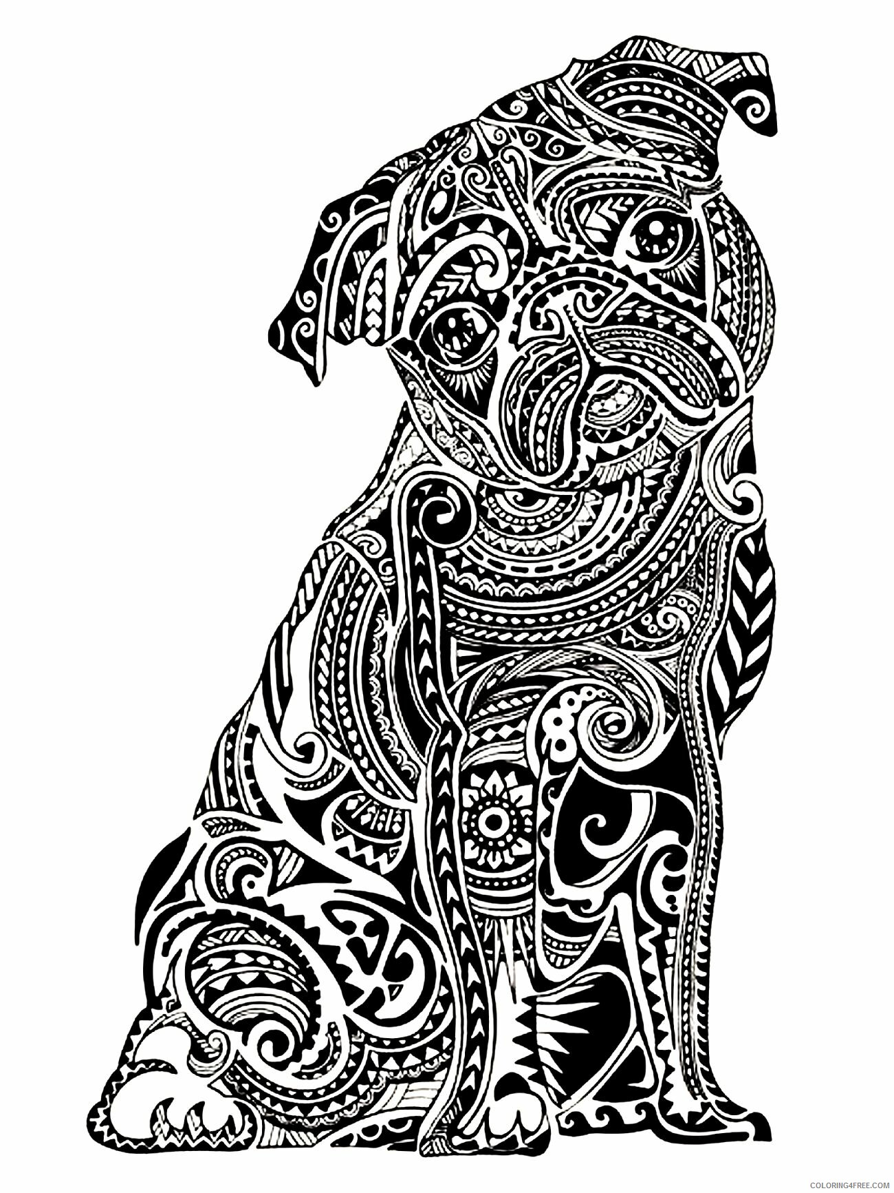 Adult Dog Coloring Pages Zendog for Adults Printable 2020 242 Coloring4free