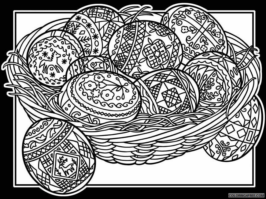 Adult Easter Coloring Pages Easter Basket with Eggs for Adults Printable 2020 247 Coloring4free