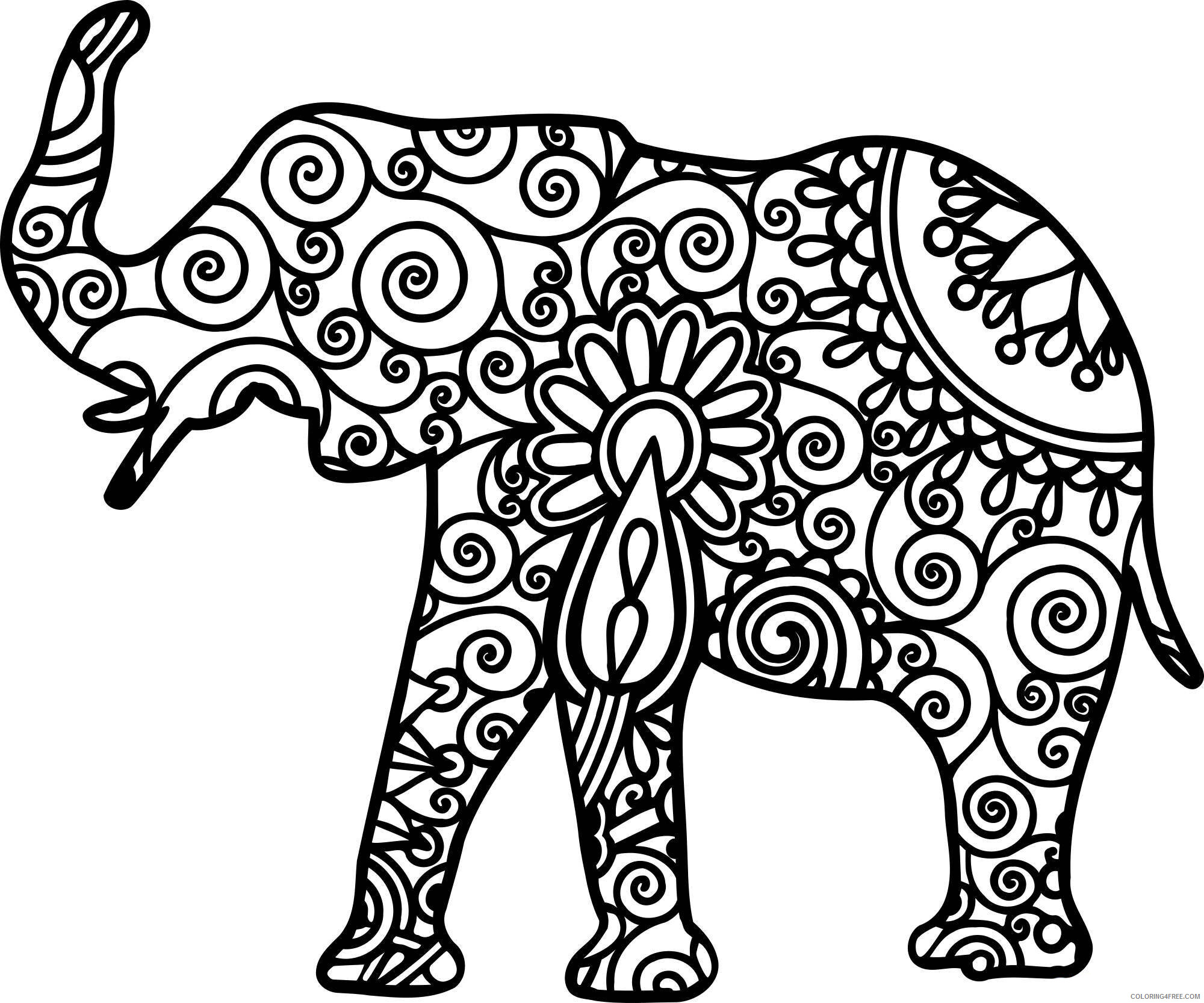 Adult Elephant Coloring Pages Elephant Design for Adults to Printable 2020 280 Coloring4free