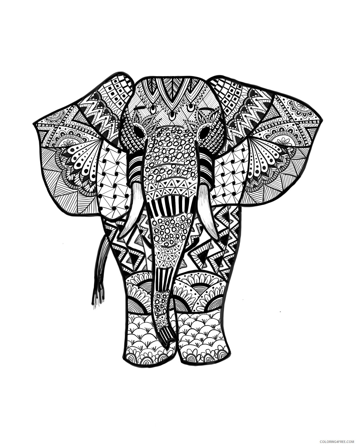 Adult Elephant Coloring Pages Elephant for Adult Printable 2020 281 Coloring4free