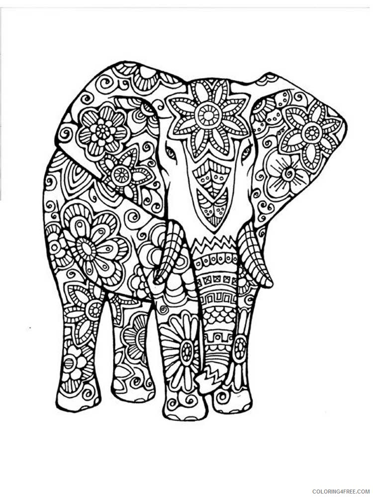 Adult Elephant Coloring Pages elephant for adults 1 Printable 2020 266 Coloring4free