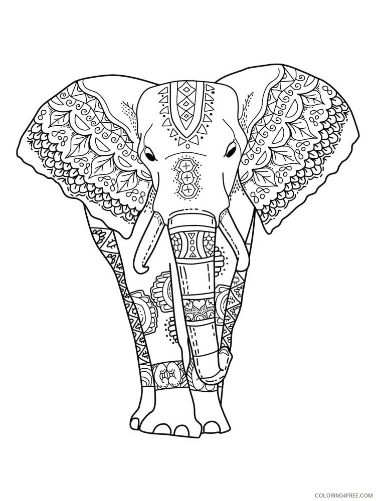 Adult Elephant Coloring Pages elephant for adults 13 Printable 2020 270 Coloring4free