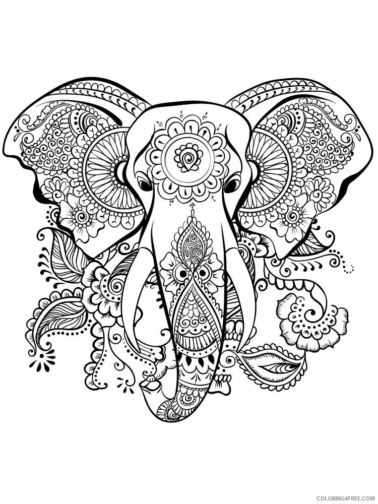 Adult Elephant Coloring Pages elephant for adults 3 Printable 2020 273 Coloring4free
