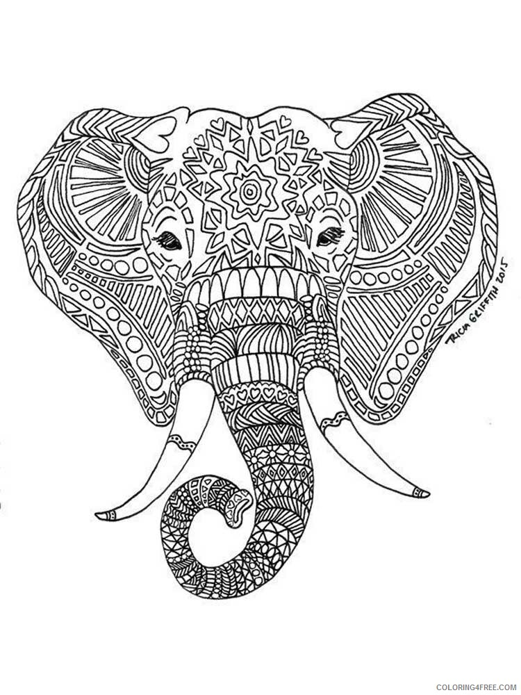 Adult Elephant Coloring Pages elephant for adults 5 Printable 2020 275 Coloring4free