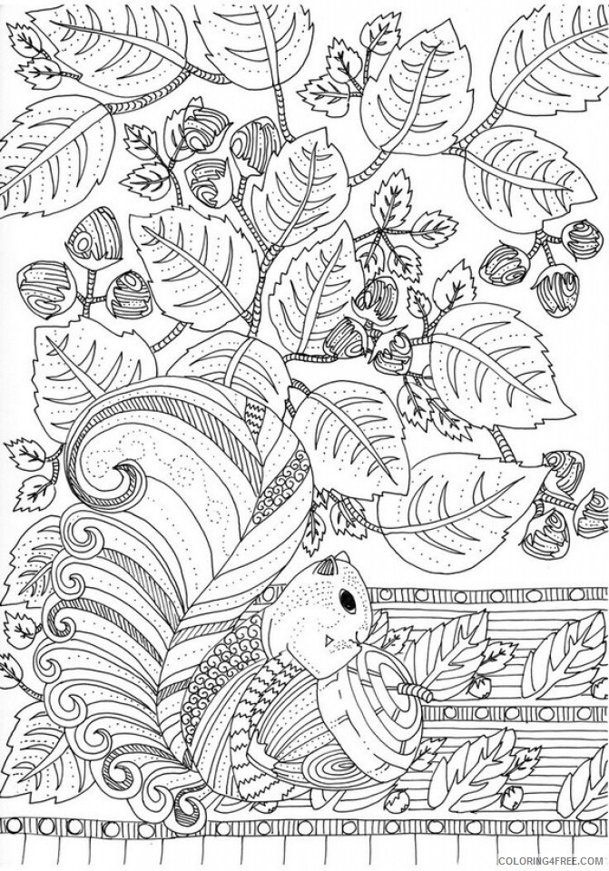 Adult Fall Coloring Pages Fall Squirrel for Adults Printable 2020 295 Coloring4free