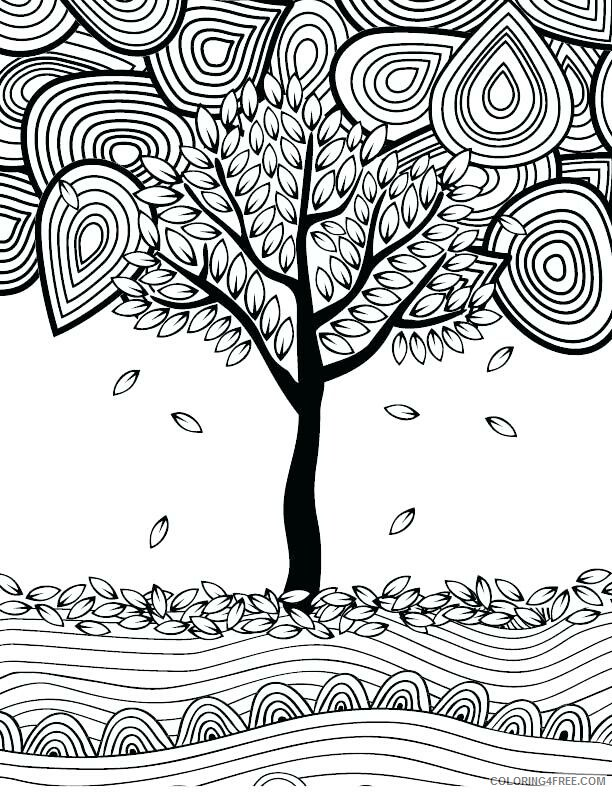 Adult Fall Coloring Pages Fall Tree for Adults Printable 2020 296 Coloring4free