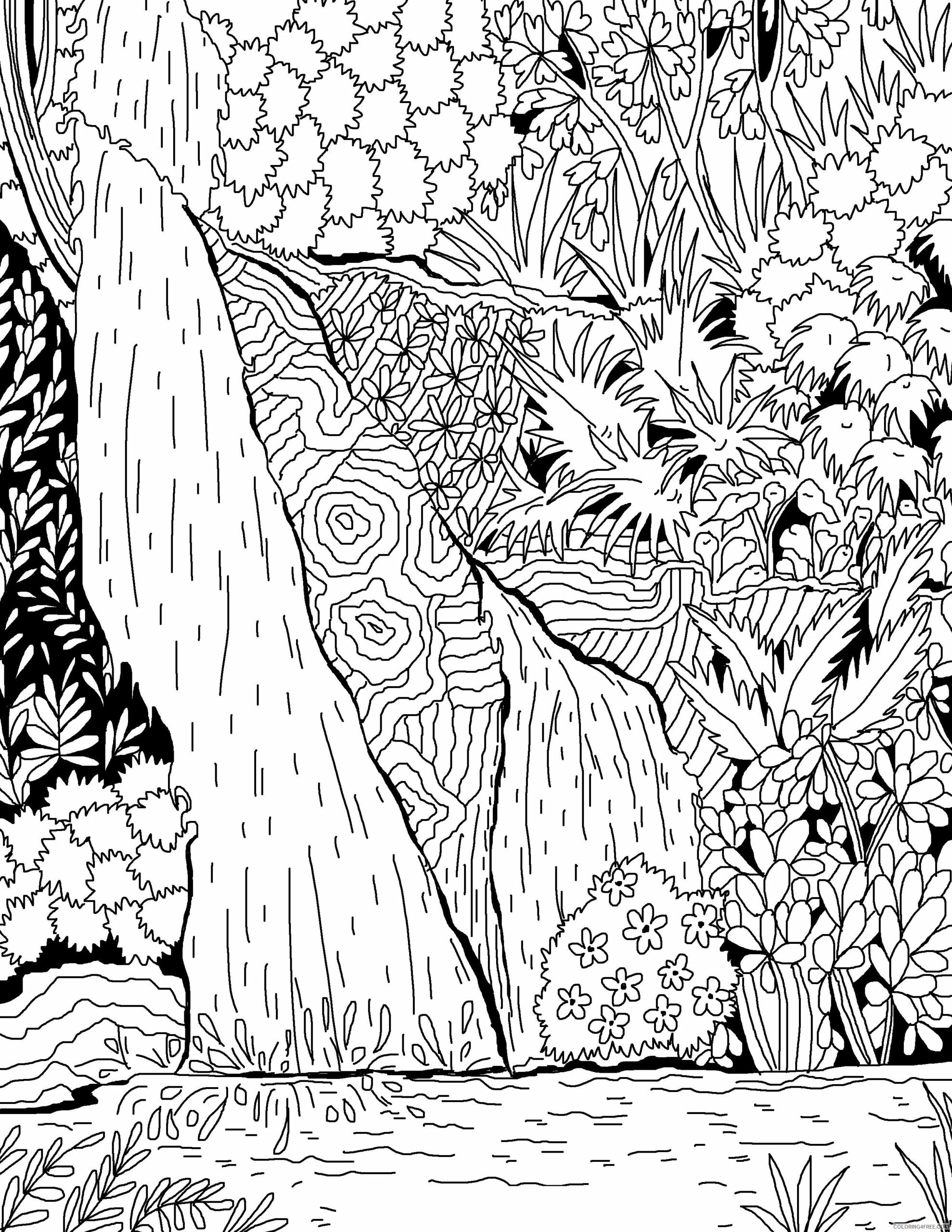 Adult Fall Coloring Pages Waterfall for Adults Printable 2020 303 Coloring4free