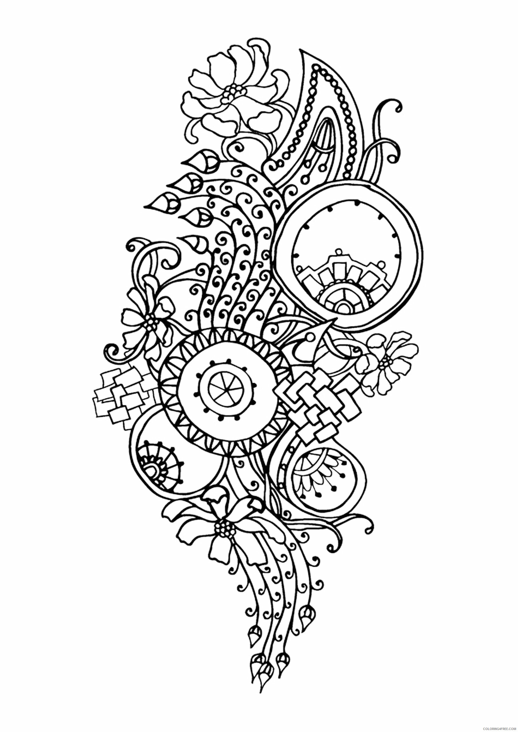 Adult Floral Coloring Pages Complex Flower for Adults Free Printable 2020 321 Coloring4free