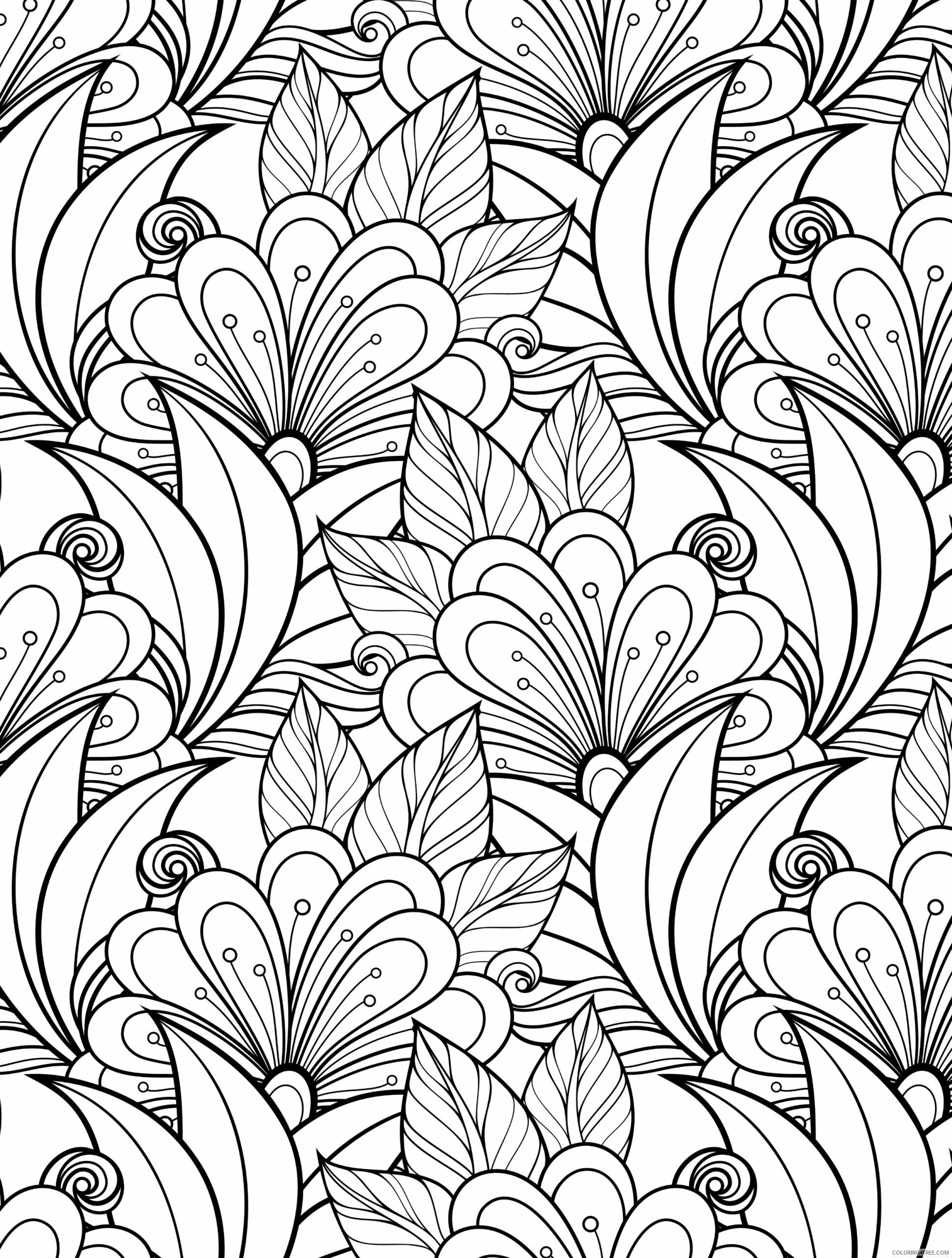 Adult Floral Coloring Pages Floral Patterns For Adults Printable 2020 351 Coloring4free