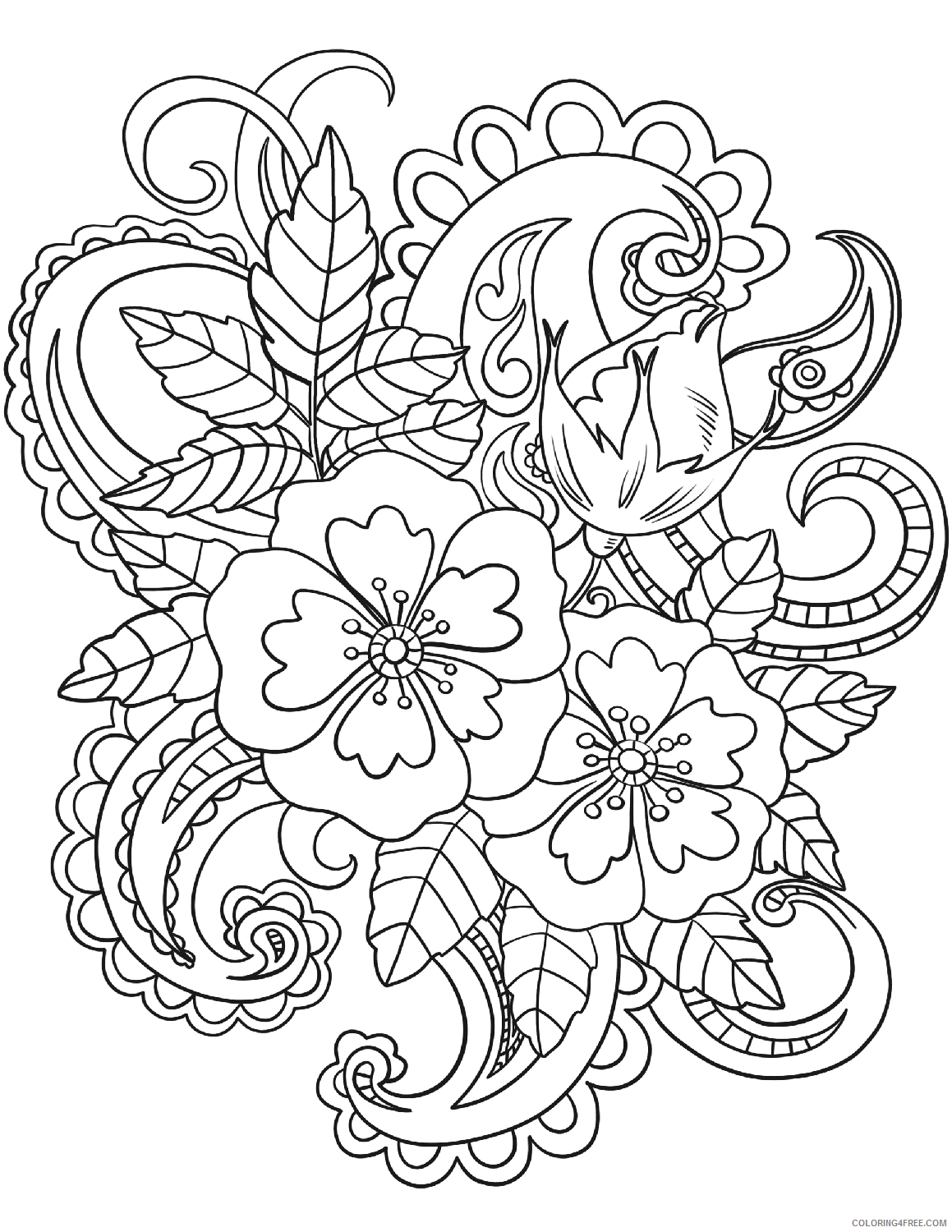 Adult Floral Coloring Pages Flower Pattern for Adults Printable 2020 363 Coloring4free