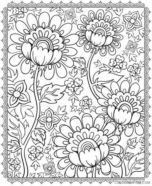 Adult Floral Coloring Pages Flower for Adults Free Printable 2020 353 Coloring4free
