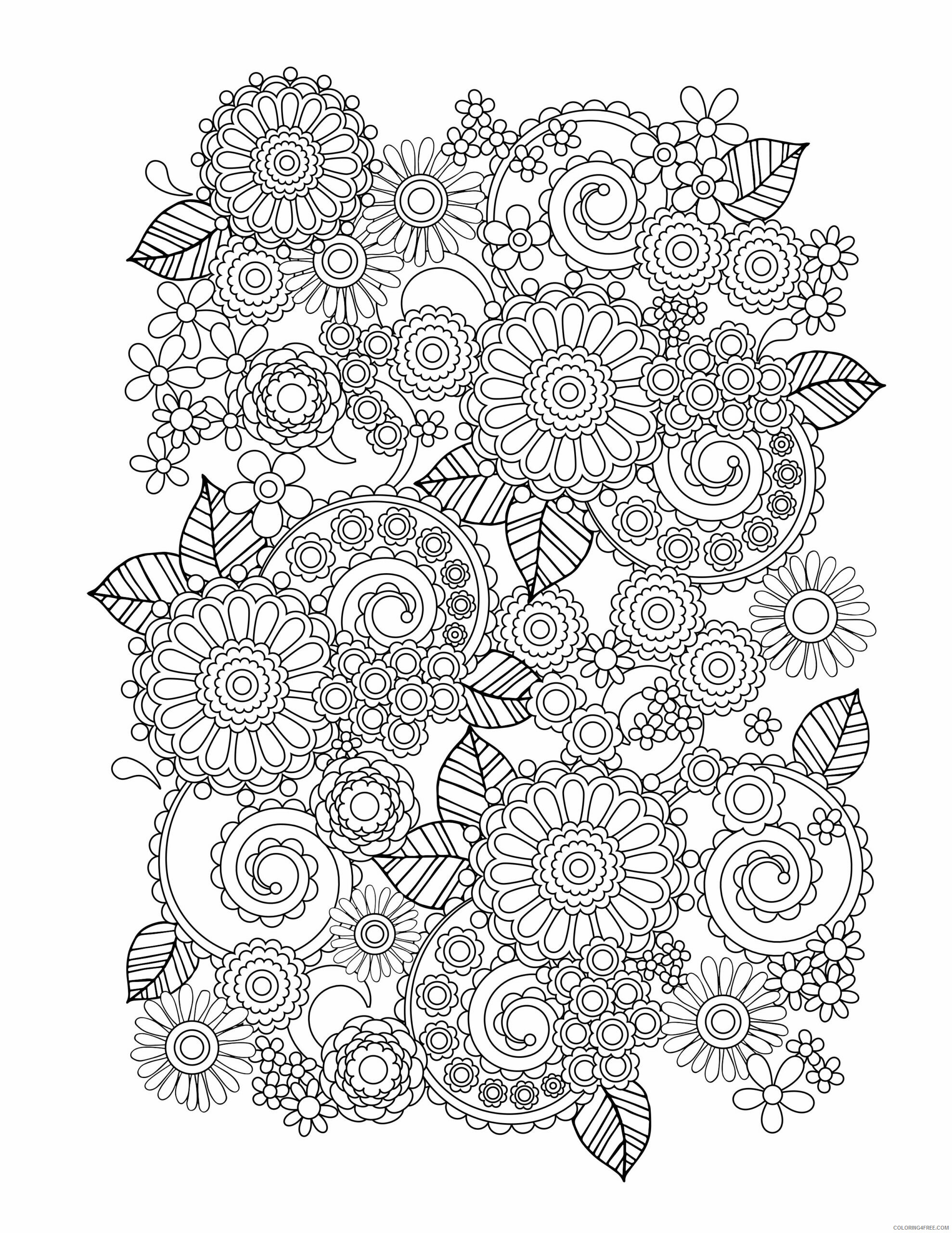 Adult Floral Coloring Pages Flower for Adults Frees Printable 2020 354 Coloring4free