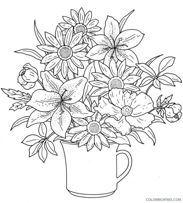 Adult Floral Coloring Pages Flower for Adultss Printable 2020 360 Coloring4free