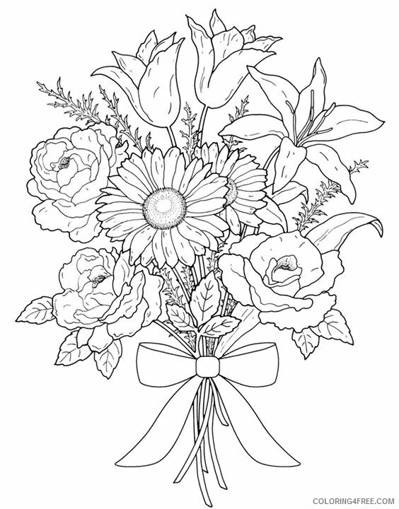 Adult Floral Coloring Pages Print Free Flower for Adults Printable 2020 374 Coloring4free
