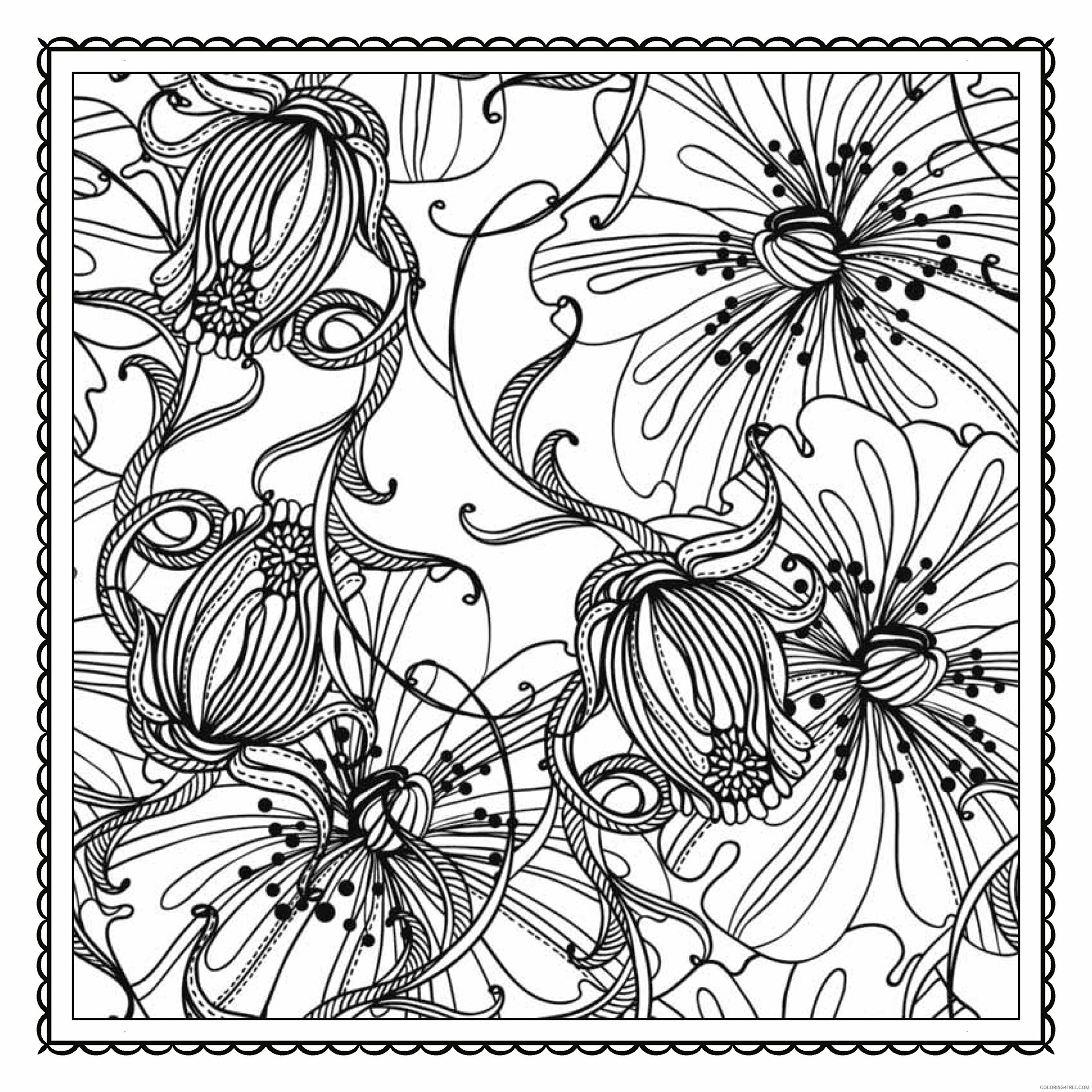 Adult Floral Coloring Pages Wispy Floral For Adults Printable 2020 375 Coloring4free