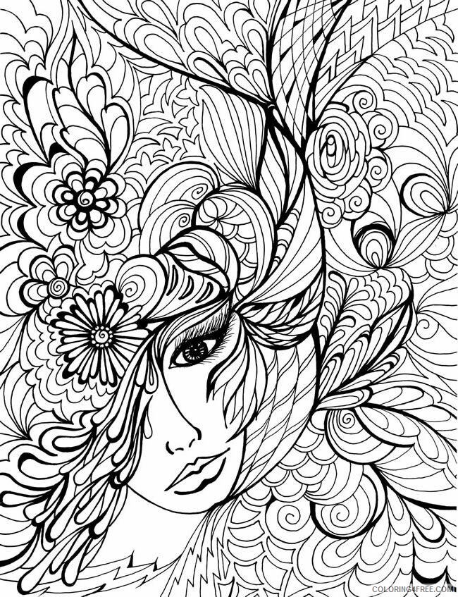 Adult Floral Coloring Pages Woman in Floral For Adults Printable 2020 376 Coloring4free