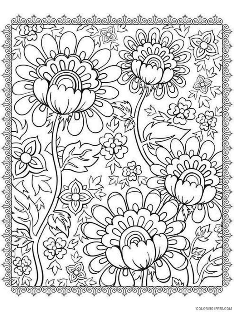 Adult Floral Coloring Pages floral for adults 14 Printable 2020 330 Coloring4free