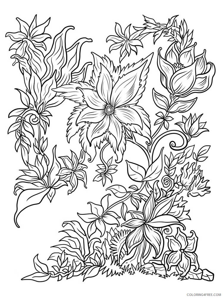 Adult Floral Coloring Pages floral for adults 3 Printable 2020 339 Coloring4free