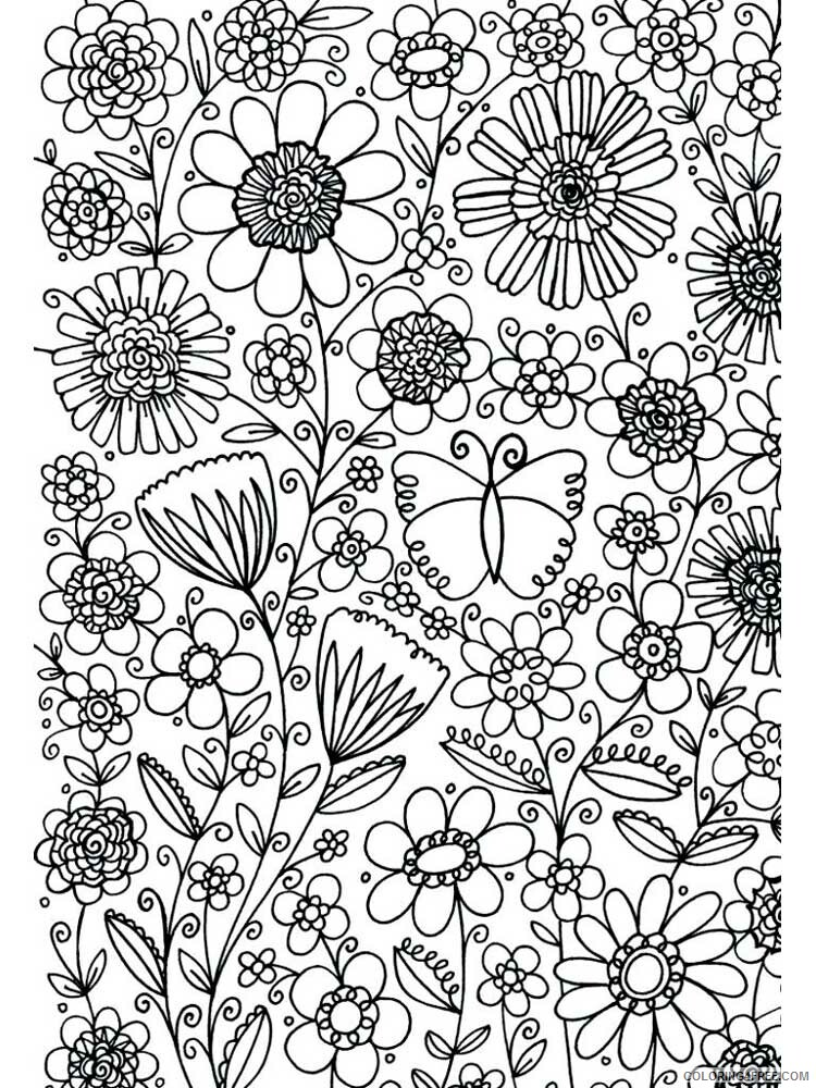 Adult Floral Coloring Pages floral for adults 7 Printable 2020 343 Coloring4free