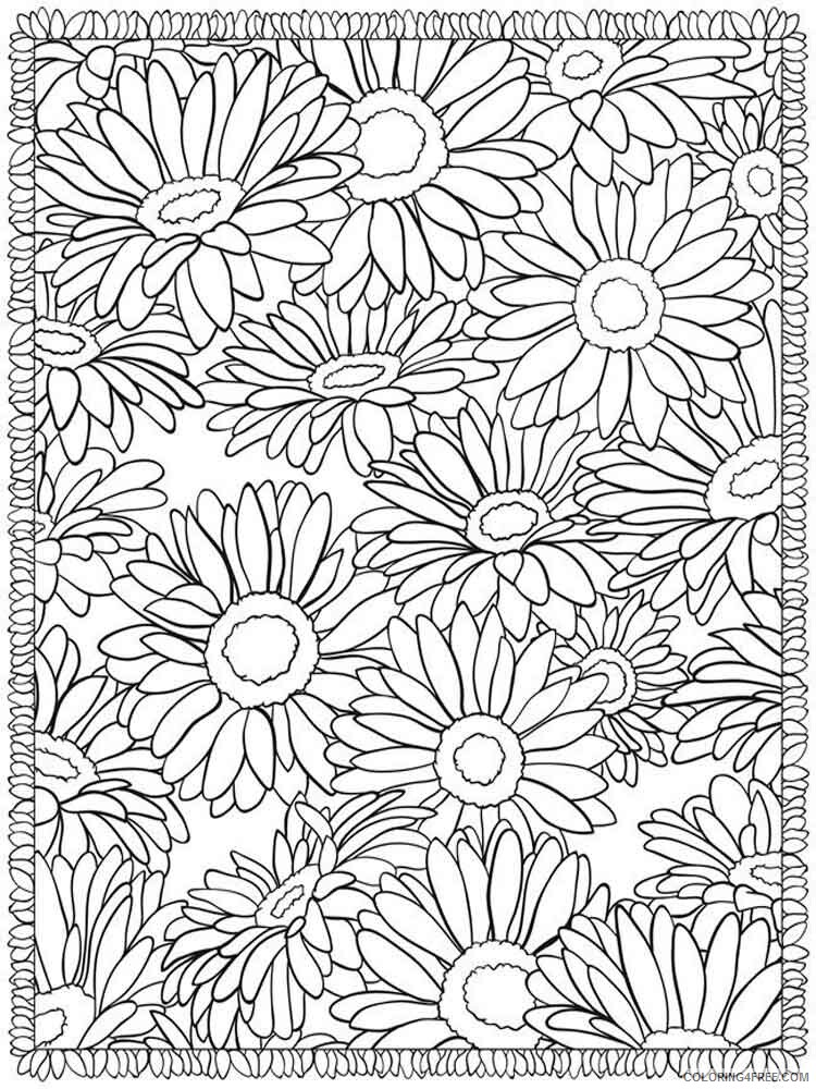 Adult Flowers Coloring Pages adult flowers 10 Printable 2020 377 Coloring4free