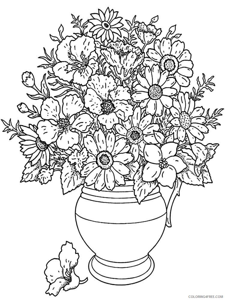 Adult Flowers Coloring Pages adult flowers 12 Printable 2020 379 Coloring4free