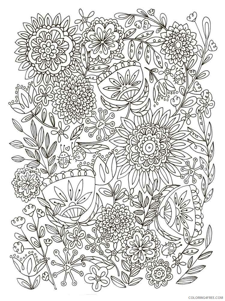 Adult Flowers Coloring Pages adult flowers 18 Printable 2020 383 Coloring4free