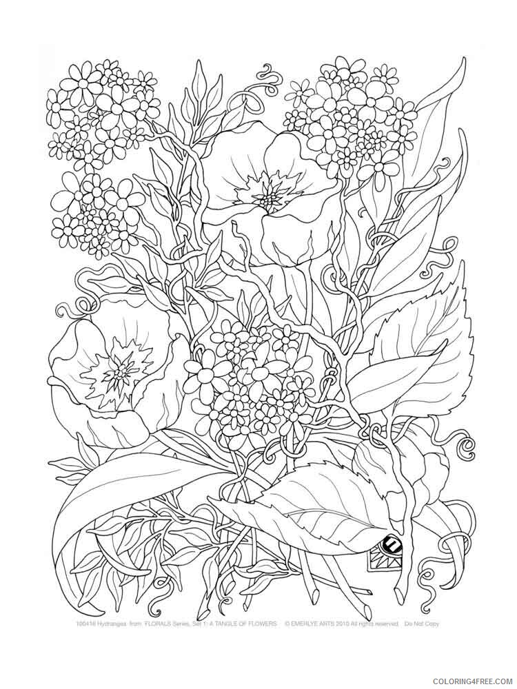 Adult Flowers Coloring Pages adult flowers 2 Printable 2020 385 Coloring4free