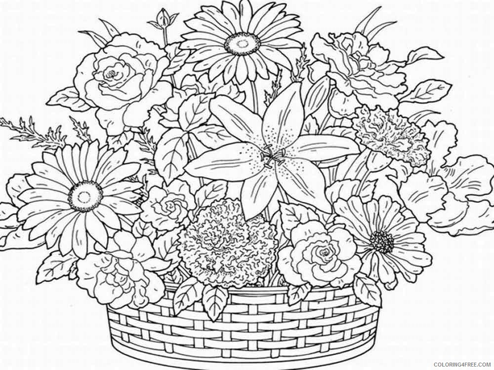 Adult Flowers Coloring Pages adult flowers 20 Printable 2020 386 Coloring4free