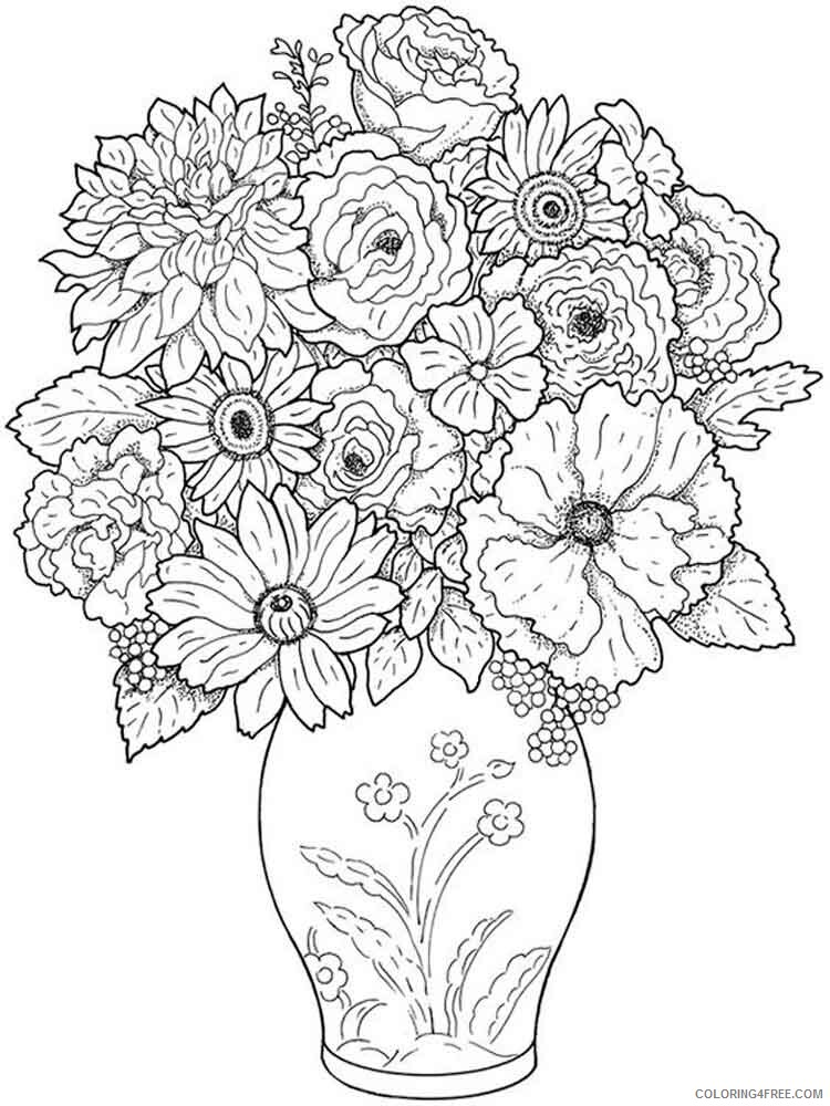 Adult Flowers Coloring Pages adult flowers 4 Printable 2020 387 Coloring4free