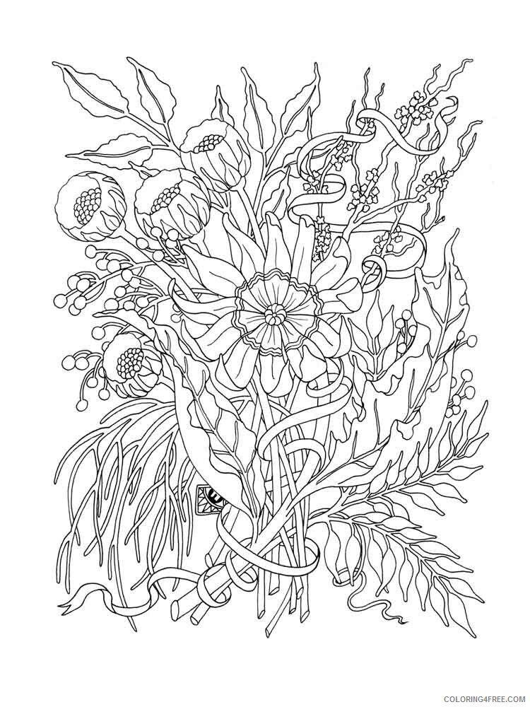 Adult Flowers Coloring Pages adult flowers 5 Printable 2020 388 Coloring4free