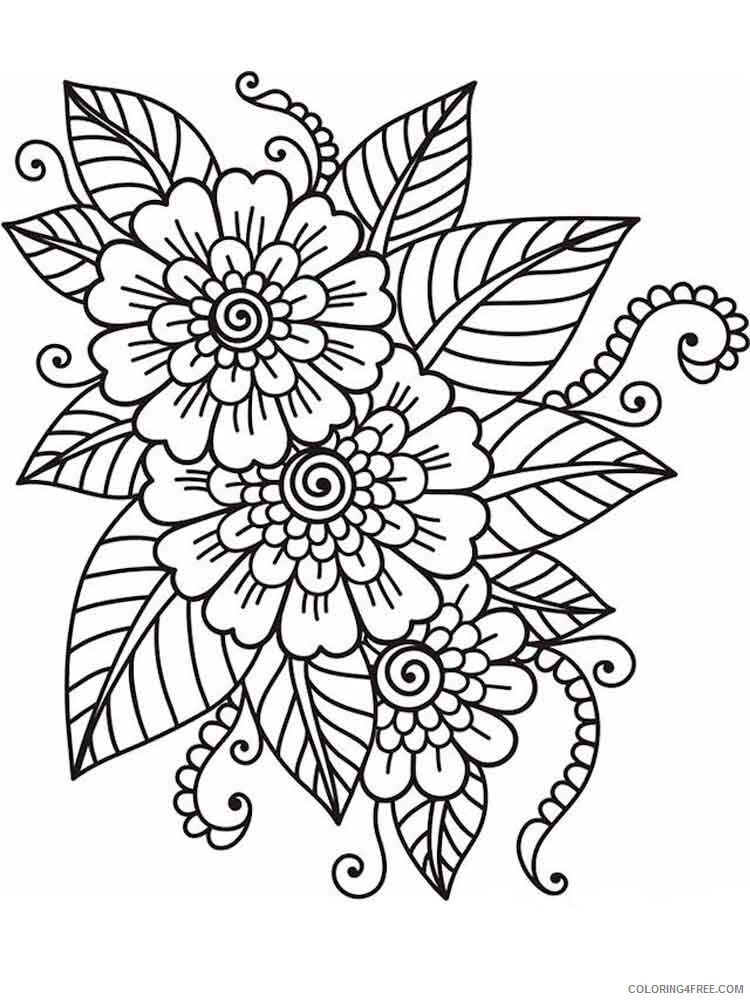 Adult Flowers Coloring Pages adult flowers 7 Printable 2020 389 Coloring4free