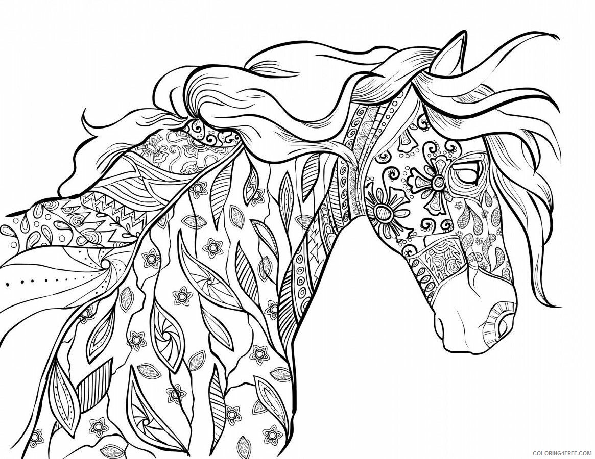 Adult Horse Coloring Pages Horse for Adults Printable 2020 395 Coloring4free