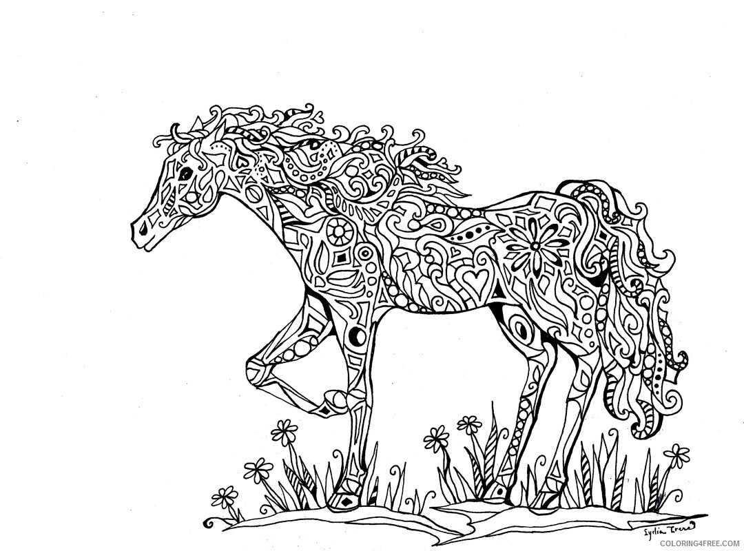 Adult Horse Coloring Pages Horse for Adults Printable 2020 398 Coloring4free