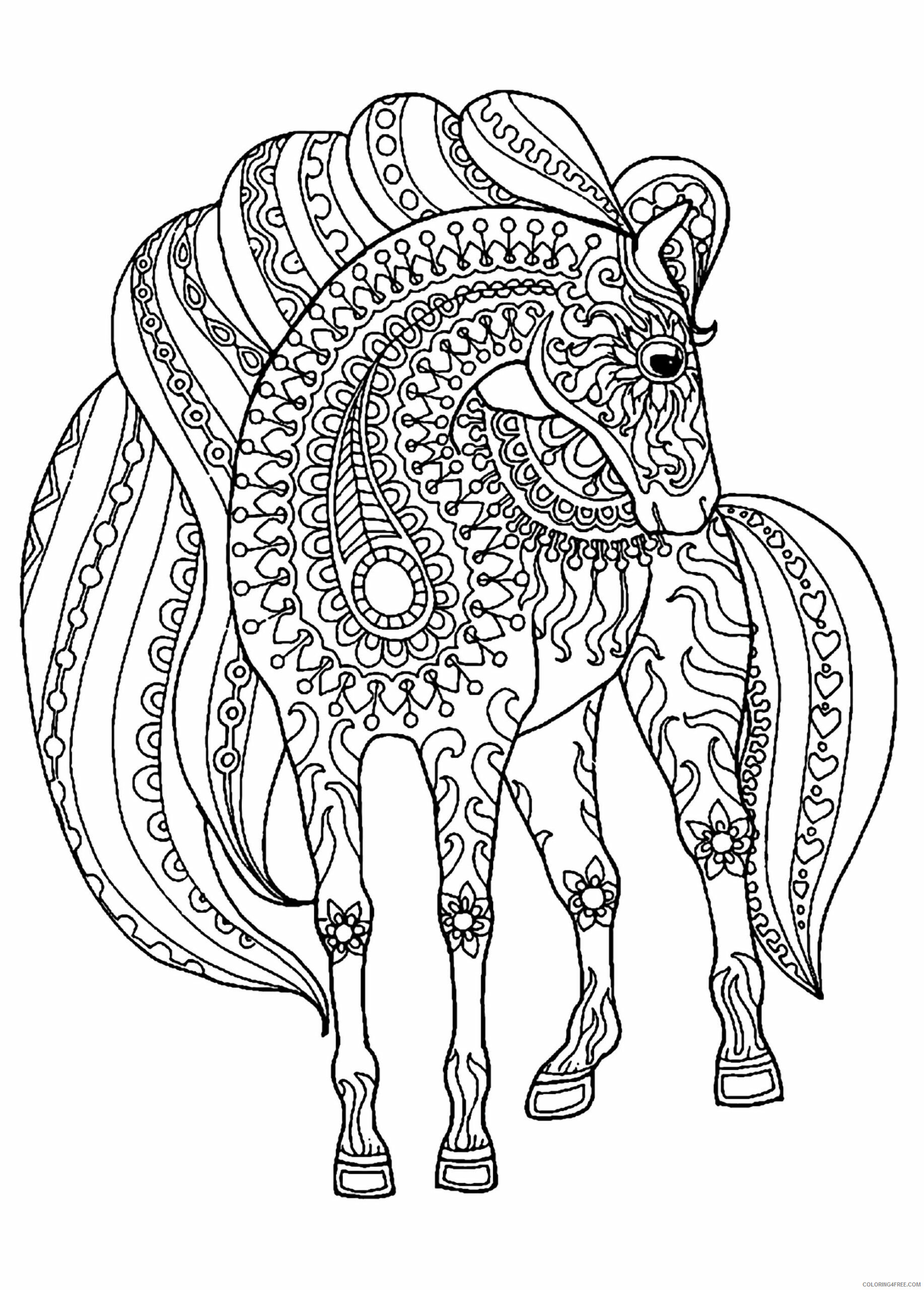 Adult Horse Coloring Pages Printable Horse for Adults Printable 2020 418 Coloring4free