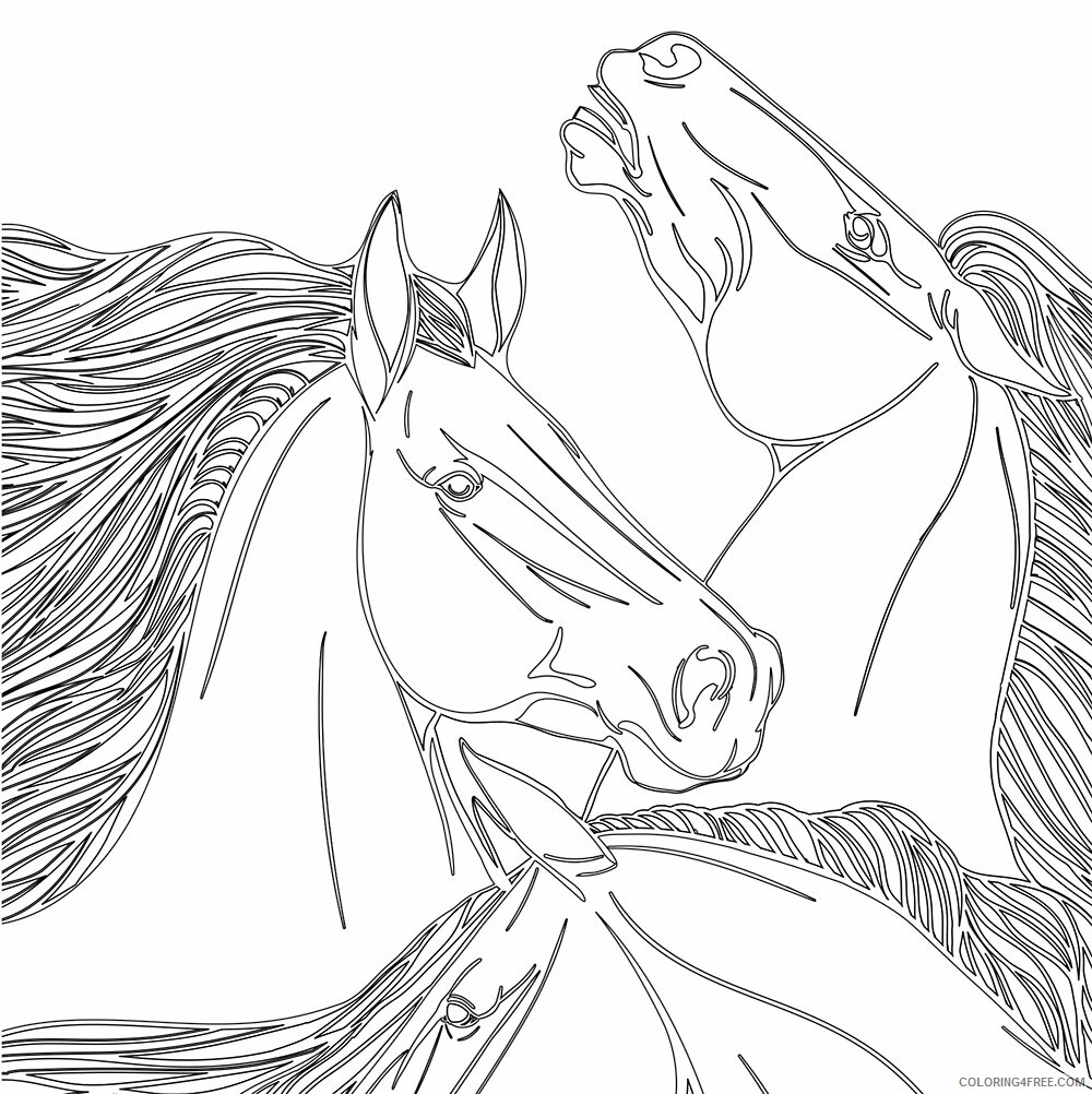 Adult Horse Coloring Pages Printable Horses for Adults Printable 2020 420 Coloring4free