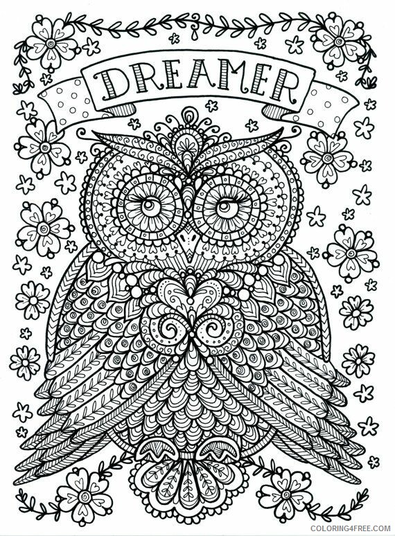 Adult Owl Coloring Pages Printable Owl for Adults Printable 2020 453 Coloring4free