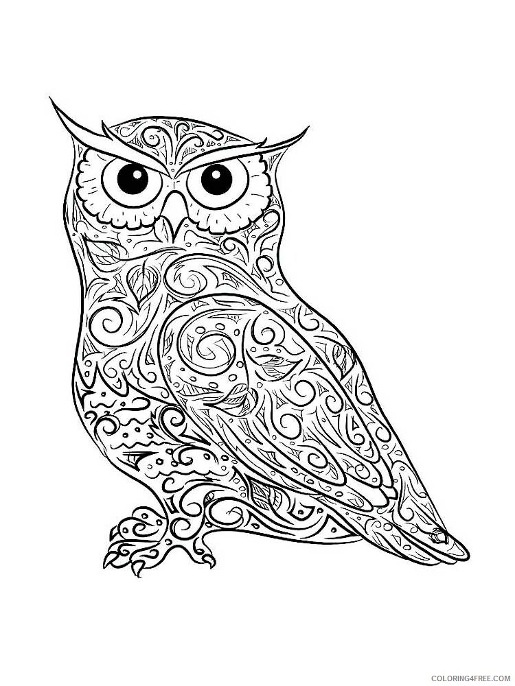 Adult Owl Coloring Pages Owl For Adults 12 Printable 2020 438 Coloring4free  - Coloring4Free.com
