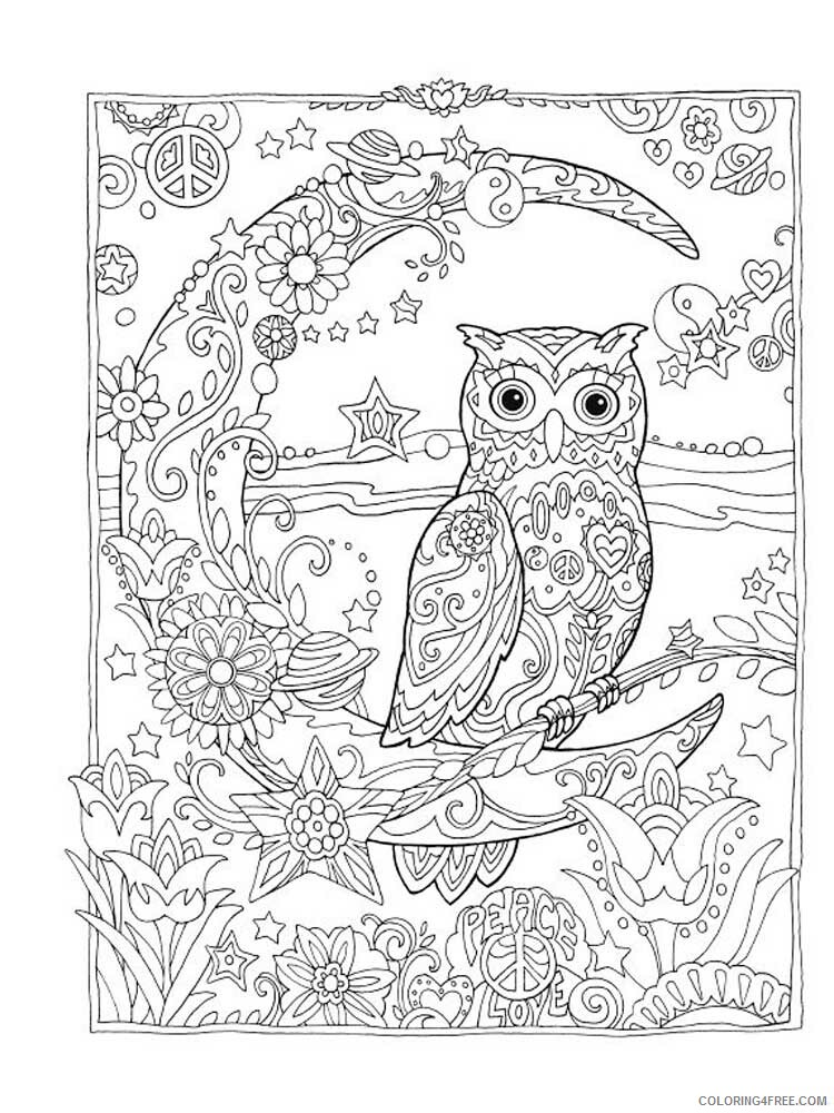 Adult Owl Coloring Pages owl for adults 2 Printable 2020 444 Coloring4free