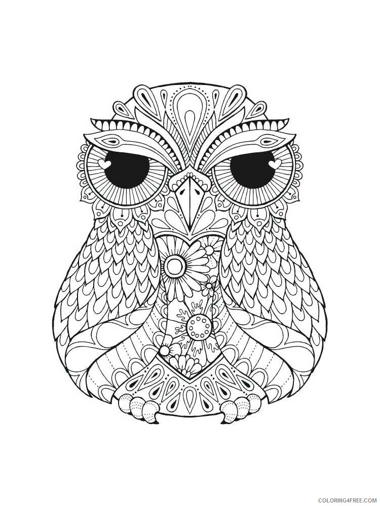 Adult Owl Coloring Pages owl for adults 7 Printable 2020 448 Coloring4free