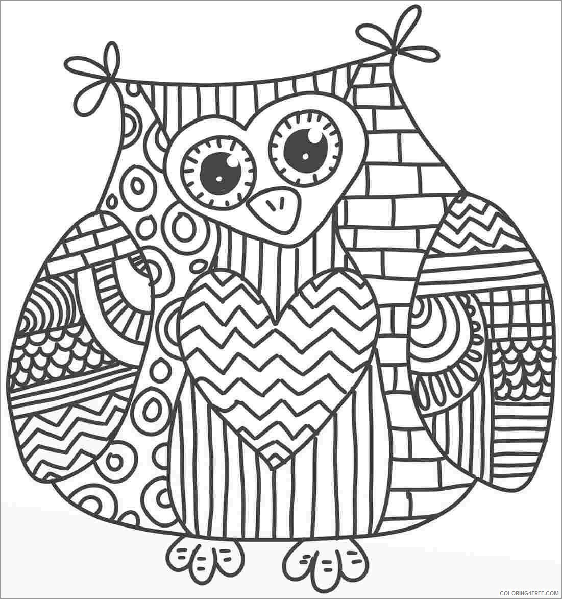 Adult Owl Coloring Pages owl for adults Printable 2020 451 Coloring4free