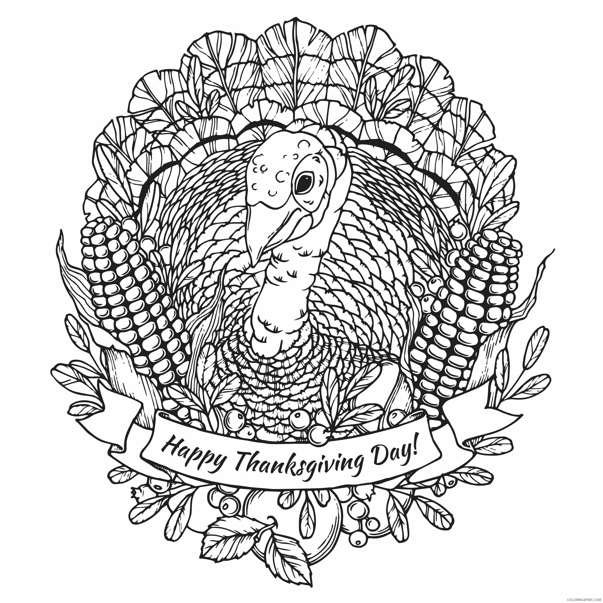 Adult Thanksgiving Coloring Pages Happy Thanksgiving Printable 2020 460 Coloring4free