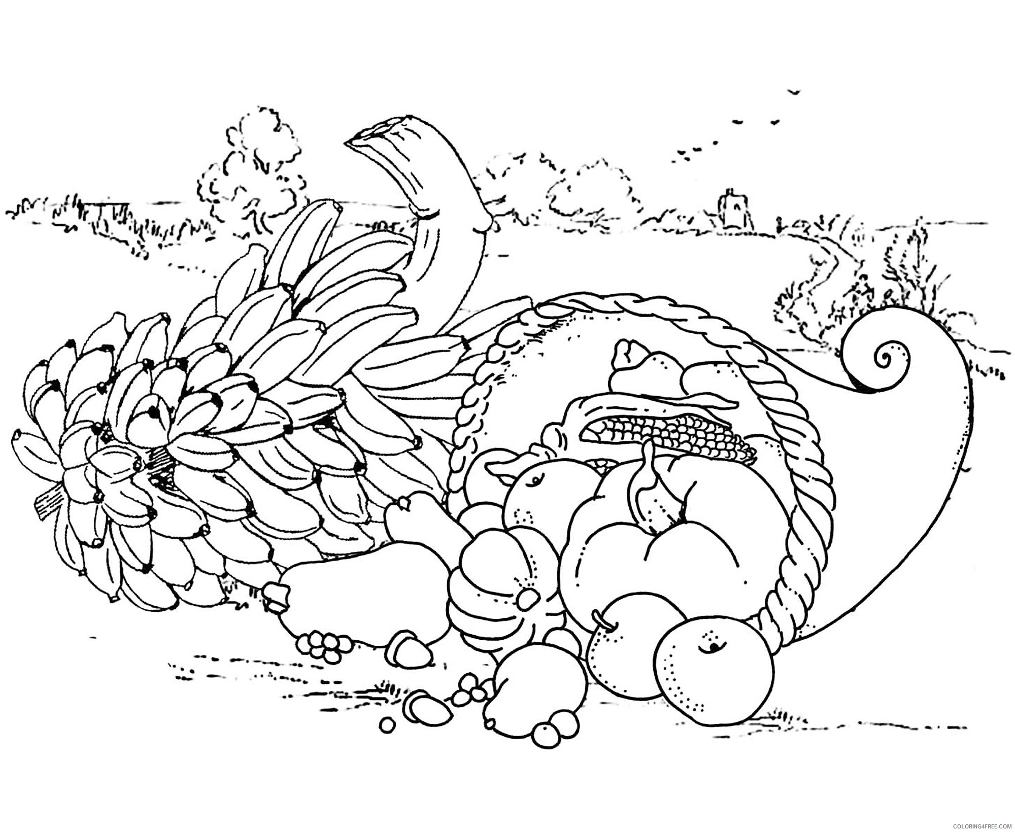 Adult Thanksgiving Coloring Pages Thanksgiving Cornucopia Printable 2020 464 Coloring4free