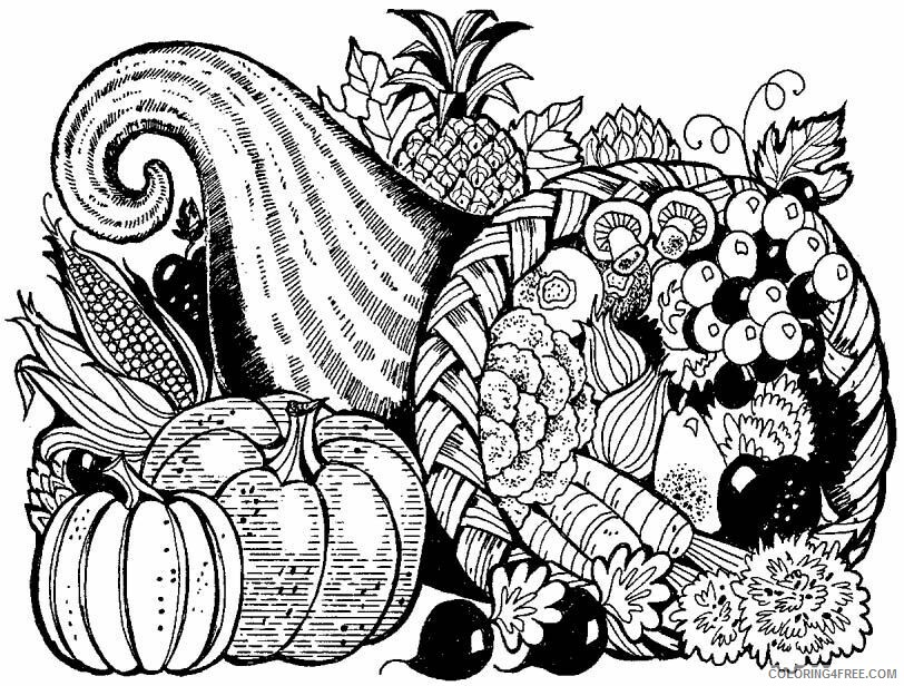 Adult Thanksgiving Coloring Pages Thanksgiving Cornucopia Printable 2020 465 Coloring4free