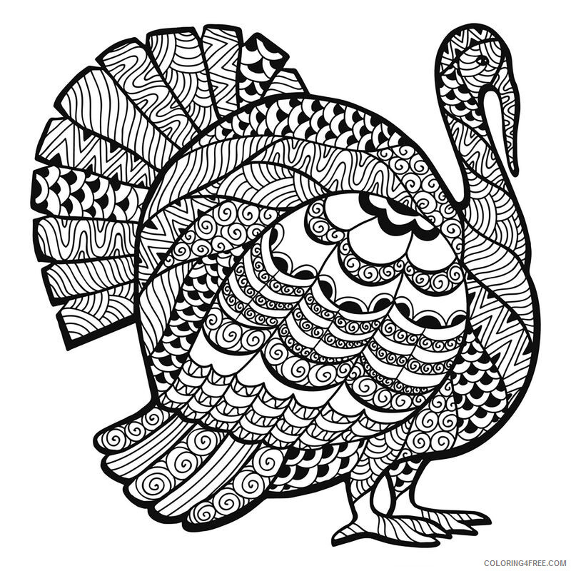 Adult Thanksgiving Coloring Pages Thanksgiving Turkey Printable 2020 467  Coloring4free - Coloring4Free.com