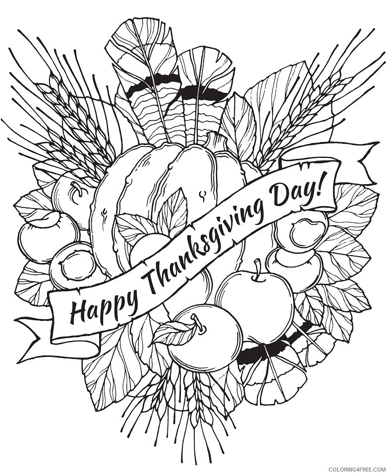 Adult Thanksgiving Coloring Pages happy thanksgiving Printable 2020 458 Coloring4free